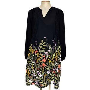 OLD NAVY black floral skirt long sleeve dress